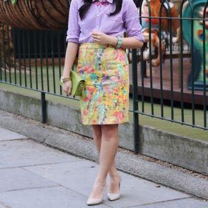 J. Crew Pencil Skirt in Yellow Sateen Print